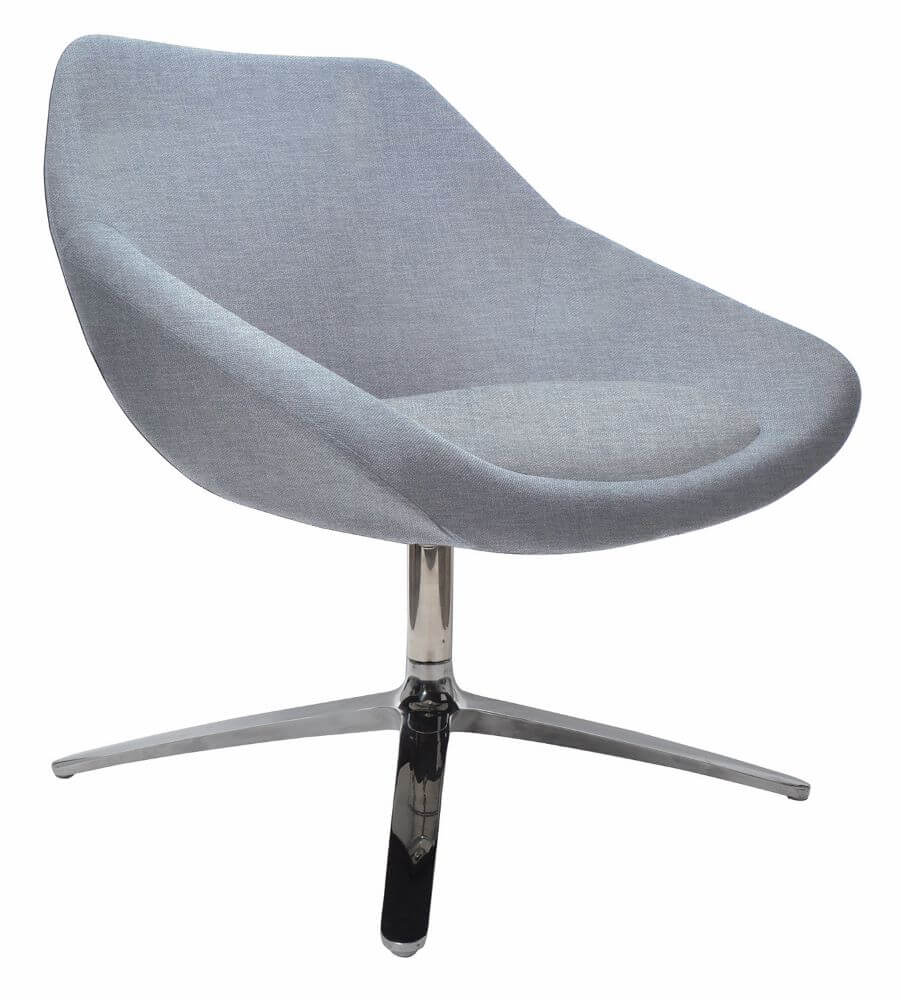 Skann chair with chrome four star base and upholstered in grey, front 45 degree view