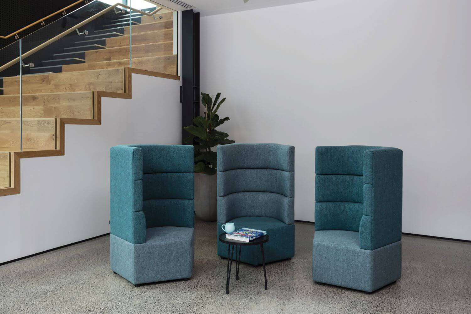 Star series collaborative seating, three high back arranged around a table