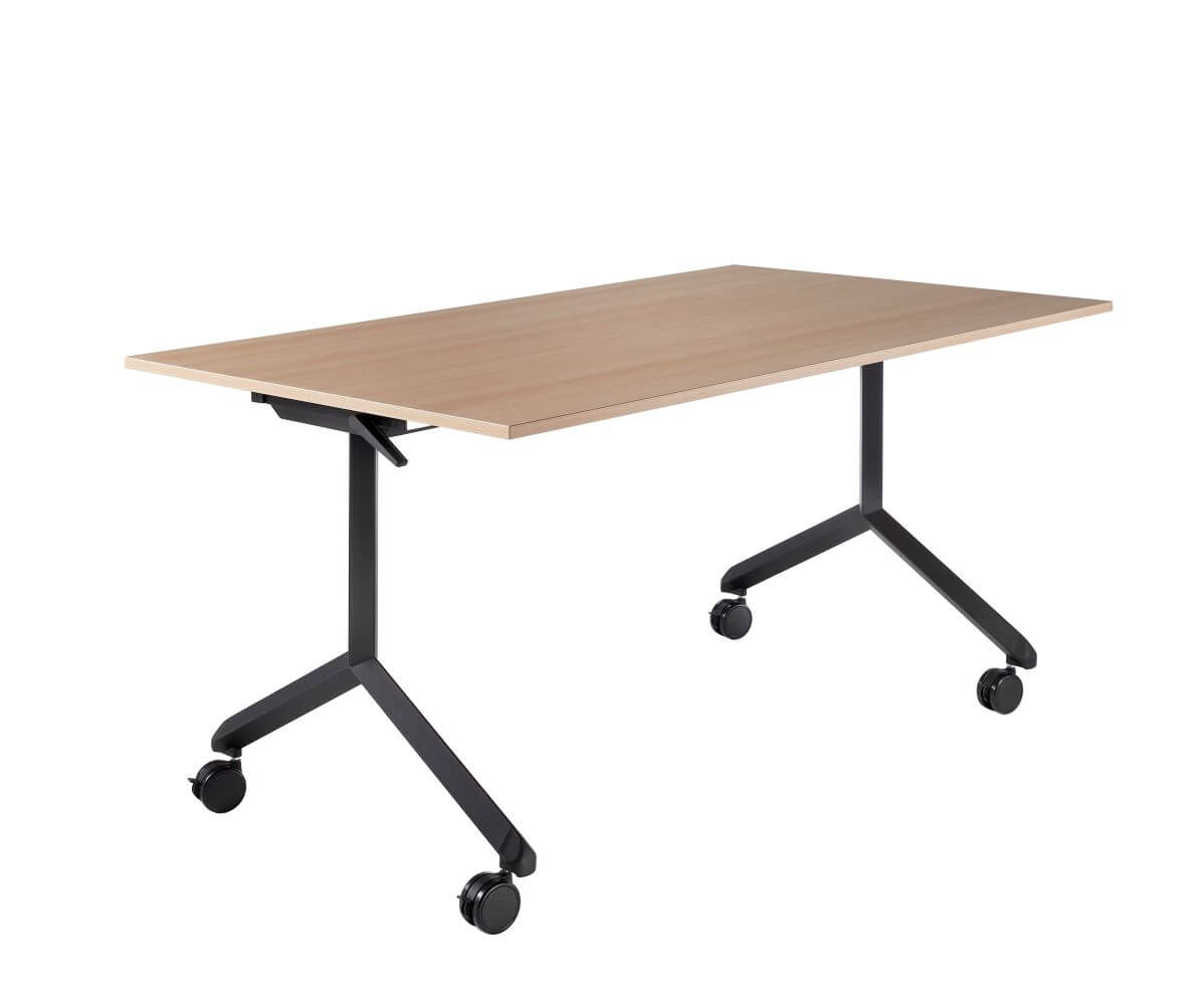 Tipper table, black frame on black castors with an oak top