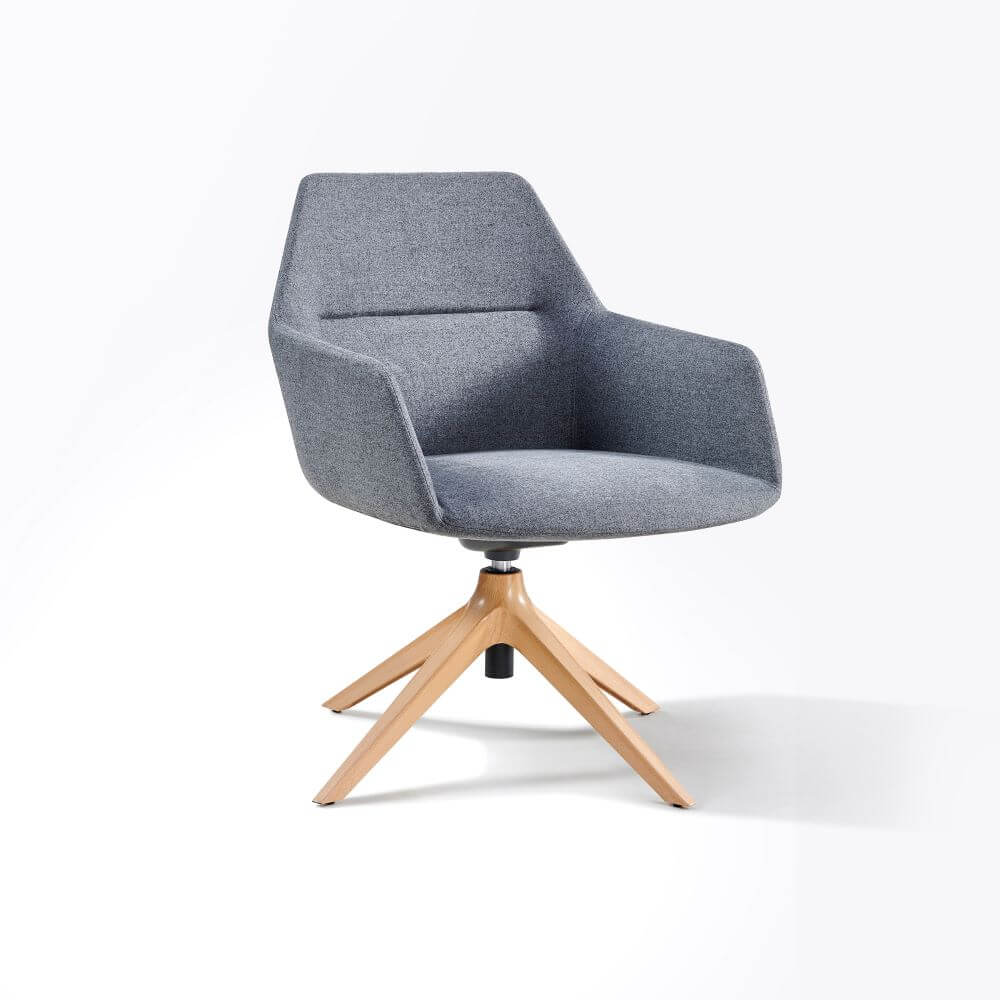 Tulip grey upholstered with timber 4 star pyramid base front 45 degree view