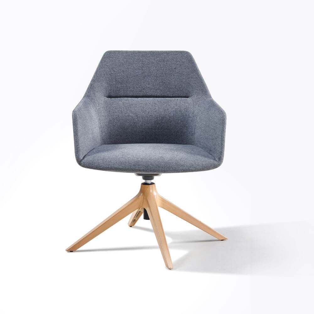 Tulip grey upholstered with timber 4 star pyramid base front view