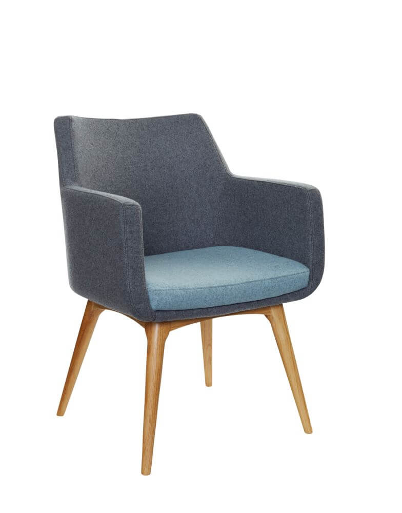 Hady chair with 4 leg wooden , upholstered in grey with blue seat, front view 45 degree view