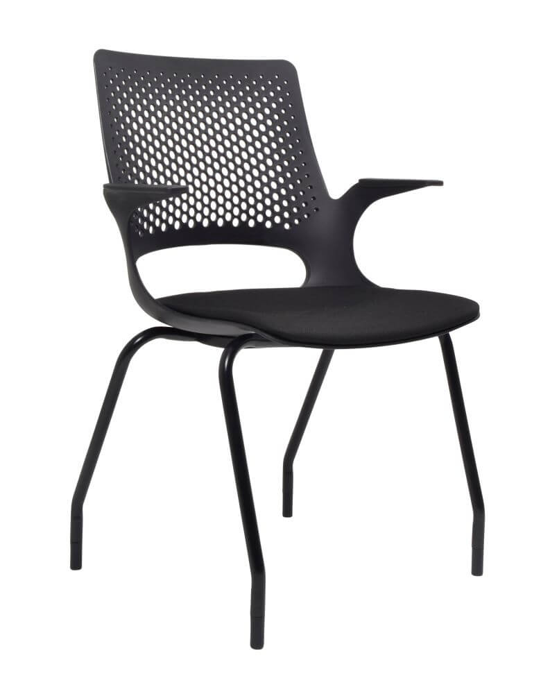 Harmony 4 leg chair in black with black seat pad