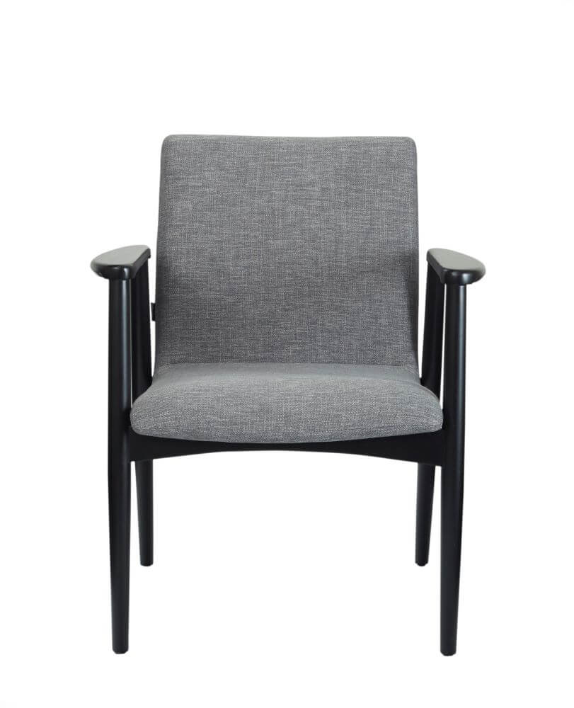 Vienna chair with black frame and grey upholstery, front view