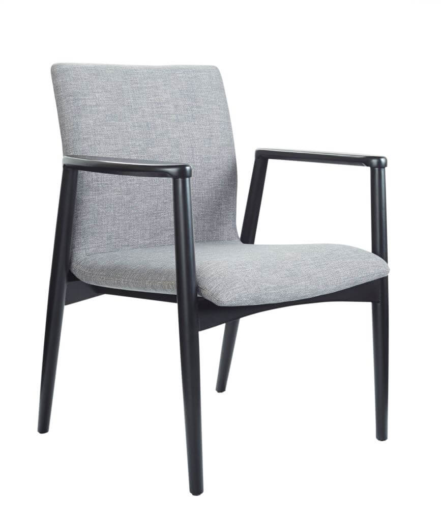 Vienna chair with black frame, upholstered in grey, front 45 degree view